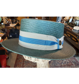HAT-BOATER-PIERRE RENOIR, STRAW, NAVY, SMALL