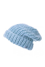 HAT-KNIT BEANIE-CHUNKY SLOUCH WITH FOLD, BLUE
