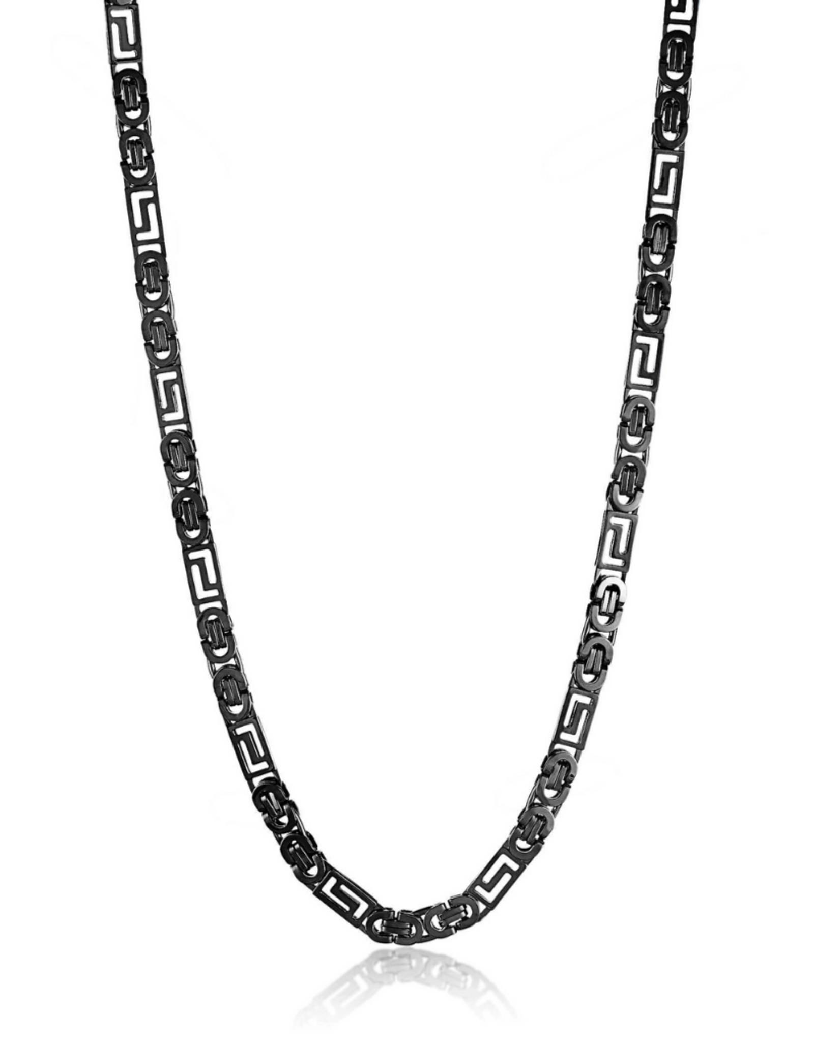 NECKLACE-CRUCIBLE POLISHED GREEK KEY FLAT BYZANTINE BLACK