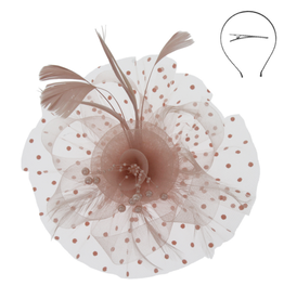 FASCINATOR-FLORAL FEATHER W/DOTTED VEIL
