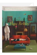 "Faire/Janet Hill Studio CARD-BIRTHDAY ""HAPPY W/BEAR IN ROOM"""