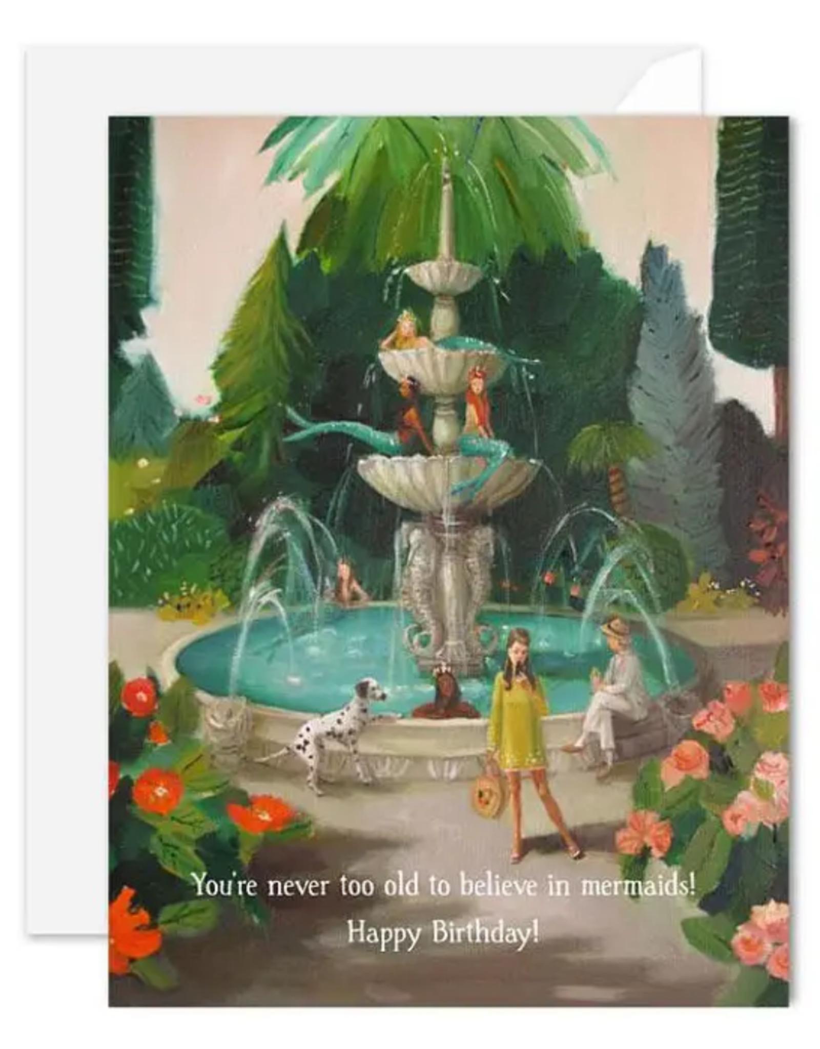 "Faire/Janet Hill Studio CARD-BIRTHDAY ""SELFIE AT MERMAID FOUNTAIN"""