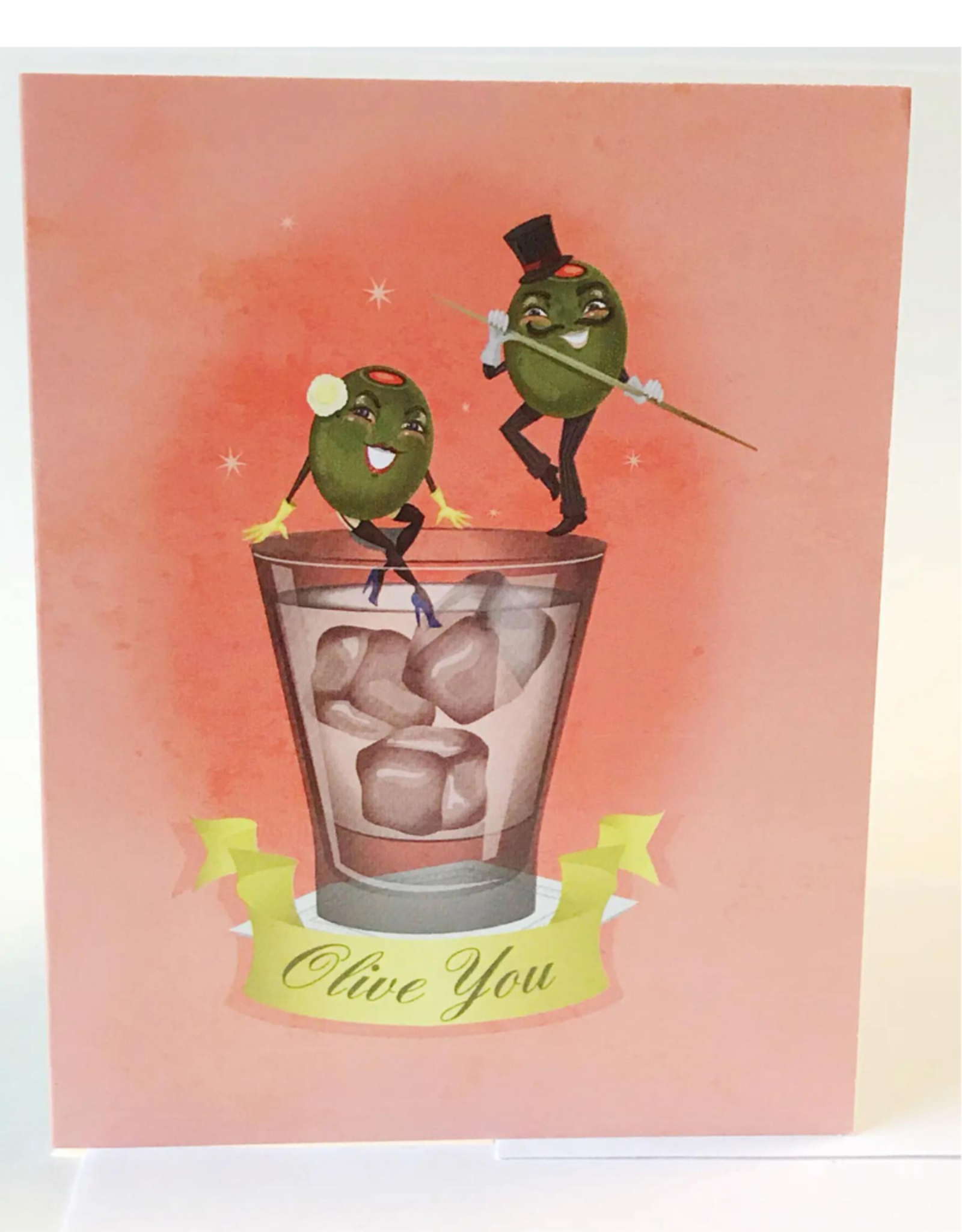 """Faire/Kitschy Delish CARD-BLANK """"OLIVE YOU"""""""
