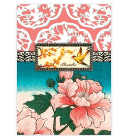 """CARD-JUST BECAUSE """"THANKS"""" FLORAL W/BIRD"""