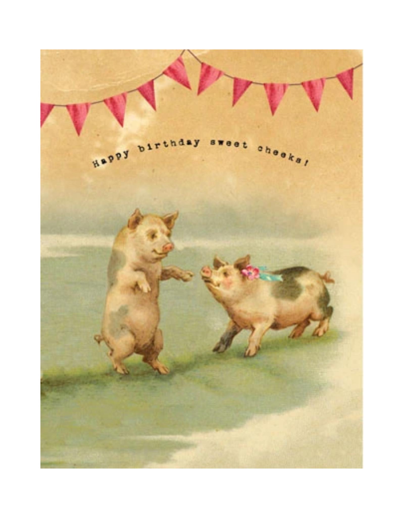 "CARD-BIRTHDAY ""SWEET CHEEKS"" PIGS"