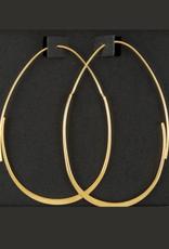 EARRINGS-GOLD DIPPED OVAL HOOP 60MM