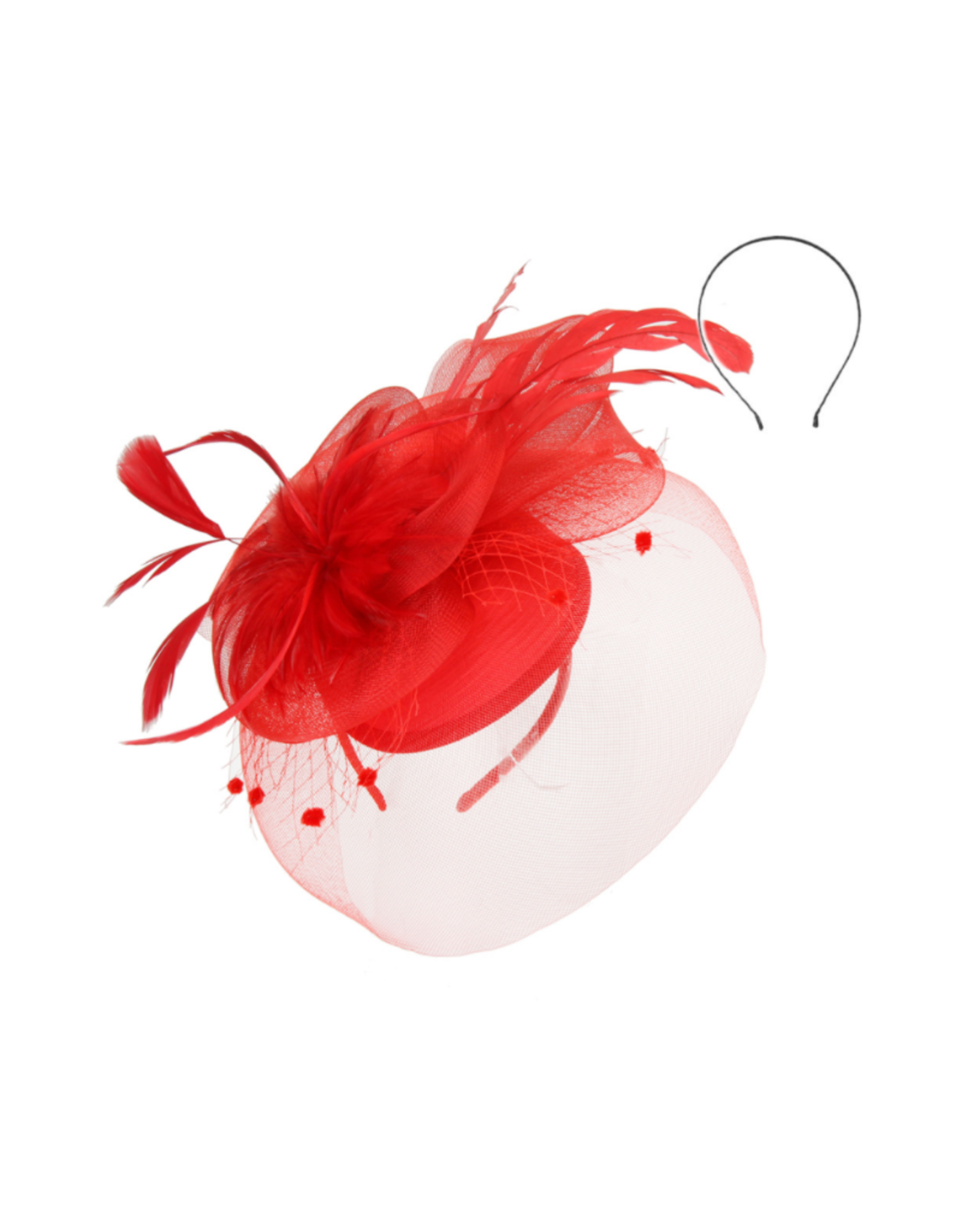FASCINATOR-MESH W/FEATHER FLOWER