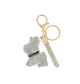 KEYCHAIN-RHINESTONE CUTE DOG