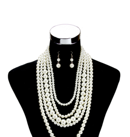NECKLACE SET-PEARL 5 LINES LAYERED