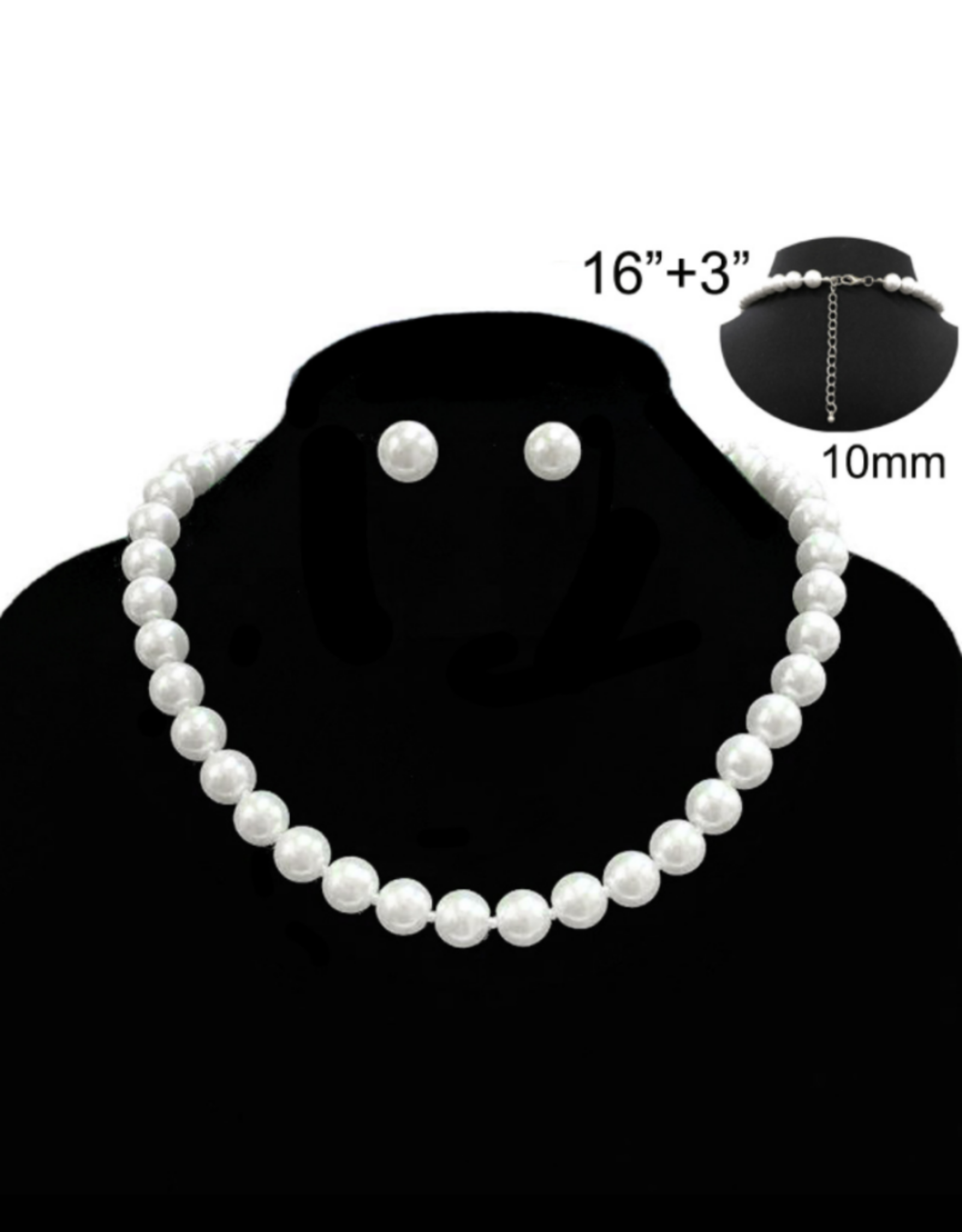NECKLACE SET-PEARL(GLASS)