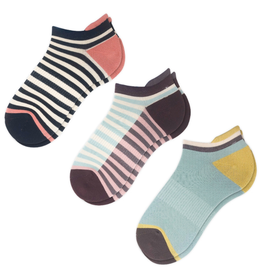 SOCKS-ANKLE-CASUAL ATHLETIC STRIPE ANKLE , 3 PACK