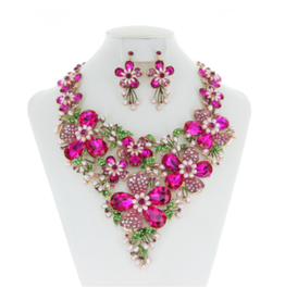 NECKLACE SET-RHINE/PEARL FLORAL