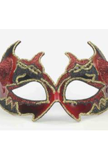 MASK-DEVIL-SMALL W/GOLD/BLK W/RED HORNS