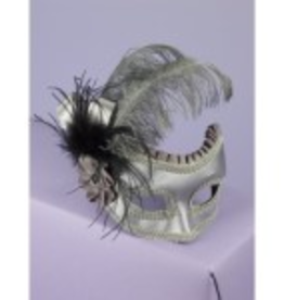 MASK-SILVER SATIN W/ FEATHER