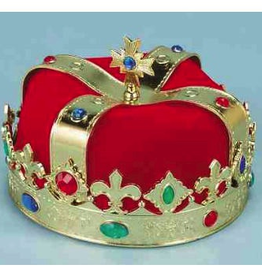CROWN-KING, RED FABRIC WITH GOLD PLASTIC AND JEWELS