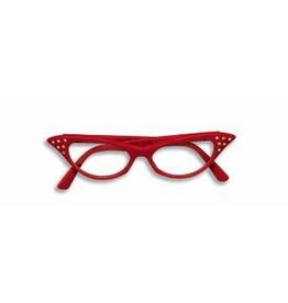 GLASSES-50'S RHINESTONE CLEAR LENS, RED