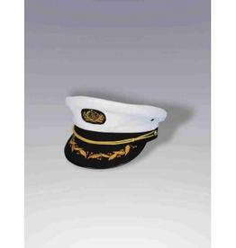 HAT-CAPTAIN, WHITE W BLACK BRIM