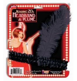HEADBAND-FLAPPER, SEQUIN, BLACK W/FTR