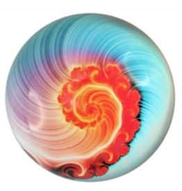 PAPERWEIGHT-GLASS DOME, NAUTILUS BLUE/CORAL