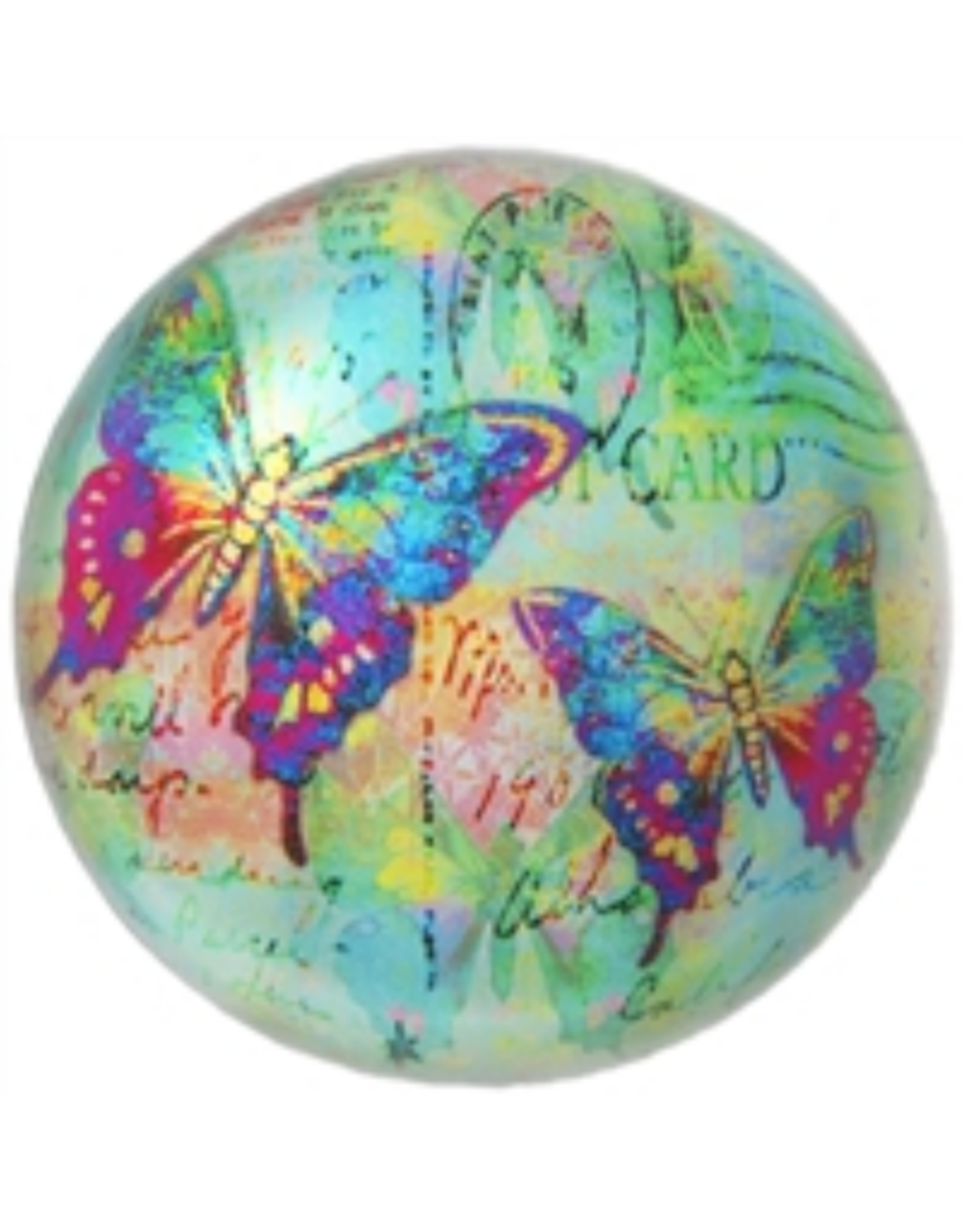 PAPERWEIGHT-GLASS DOME, BUTTERFLY POSTCARD