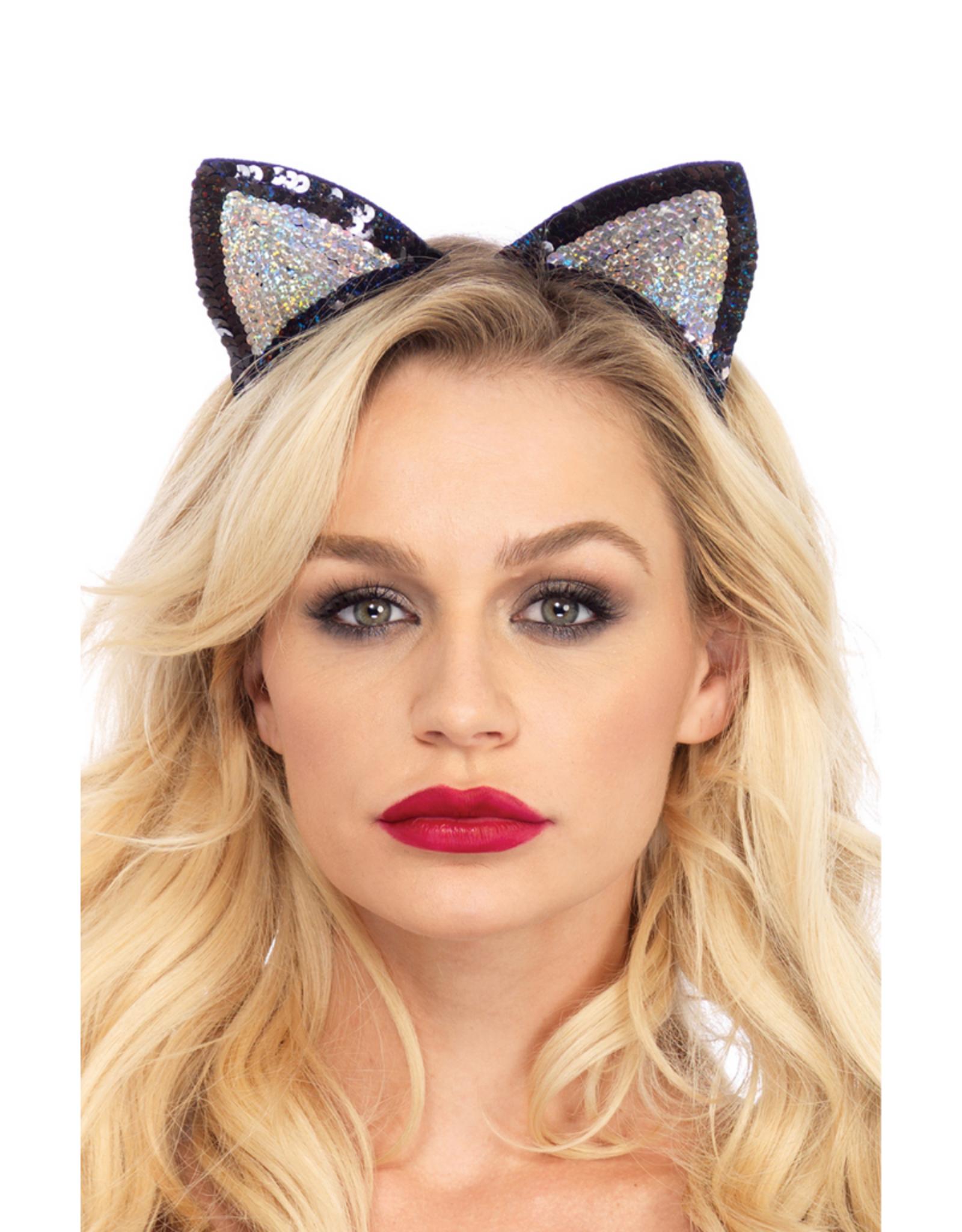 ANIMAL HEADBAND-CAT EARS, SEQUIN, SILVER