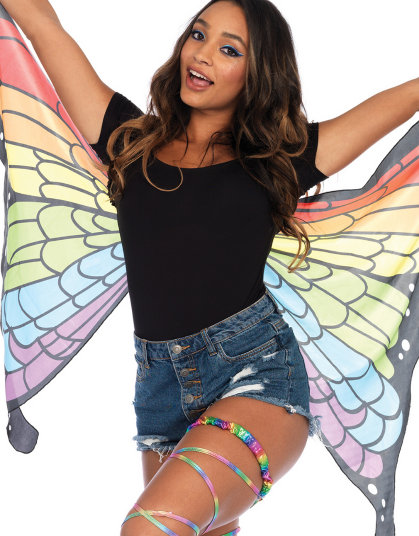 WINGS-FABRIC SHORT-RAINBOW BUTTERFLY