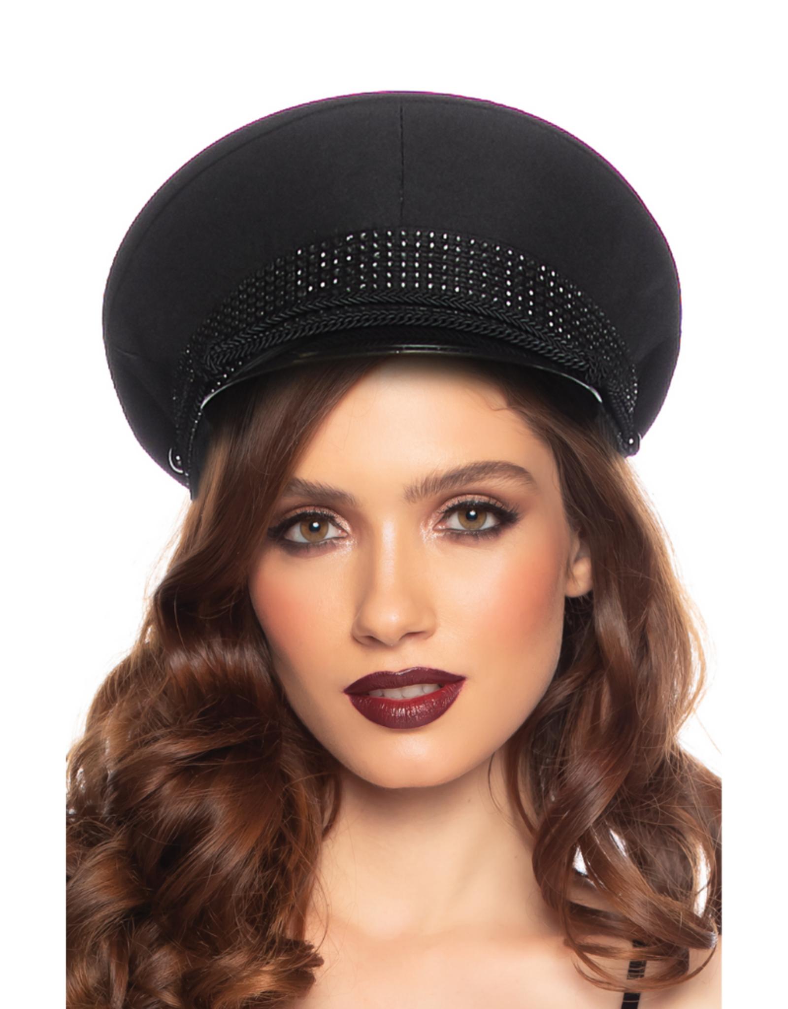 HAT-OFFICER W/RHINESTONE BAND, CLOTH BLACK