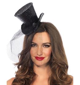 HAT-MINI TOP HAT W/VEIL BLACK