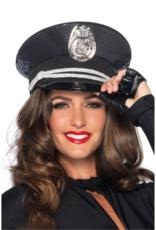 HAT-SEQUIN COP BLACK