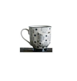 CUP-W/TEABAG HOLDER PATTERNED-STONEWARE
