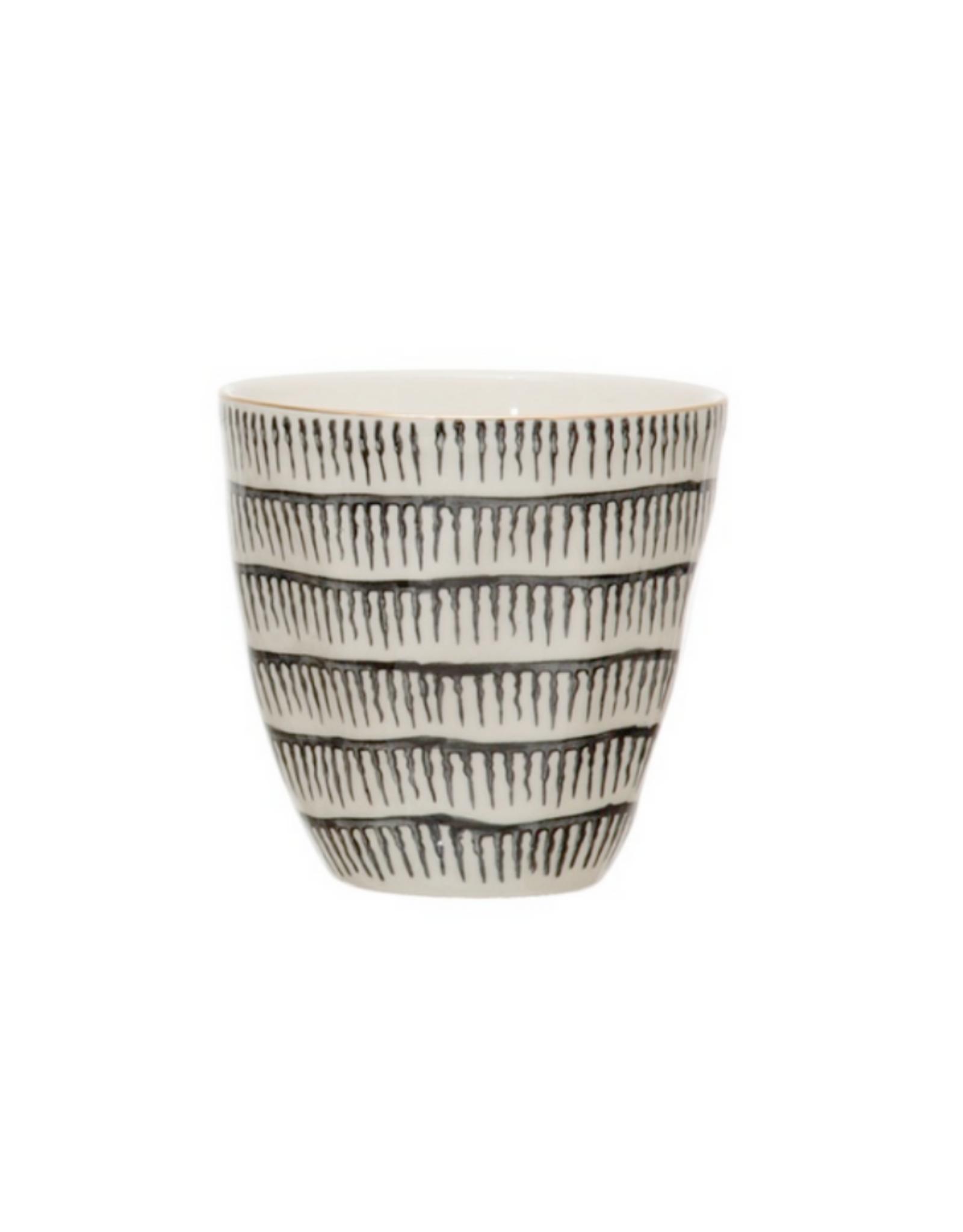 CUP-BLK/WHITE PATTERN, ELECTROPLATING, 8OZ