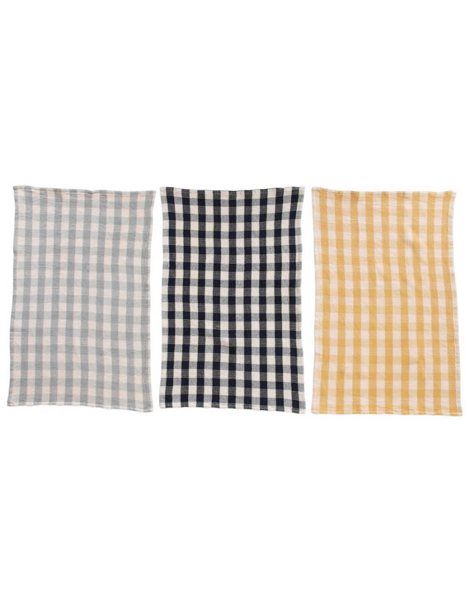 "TEA TOWELS-COTTON, GINGHAM, SET OF 3, 28"" X 18"""