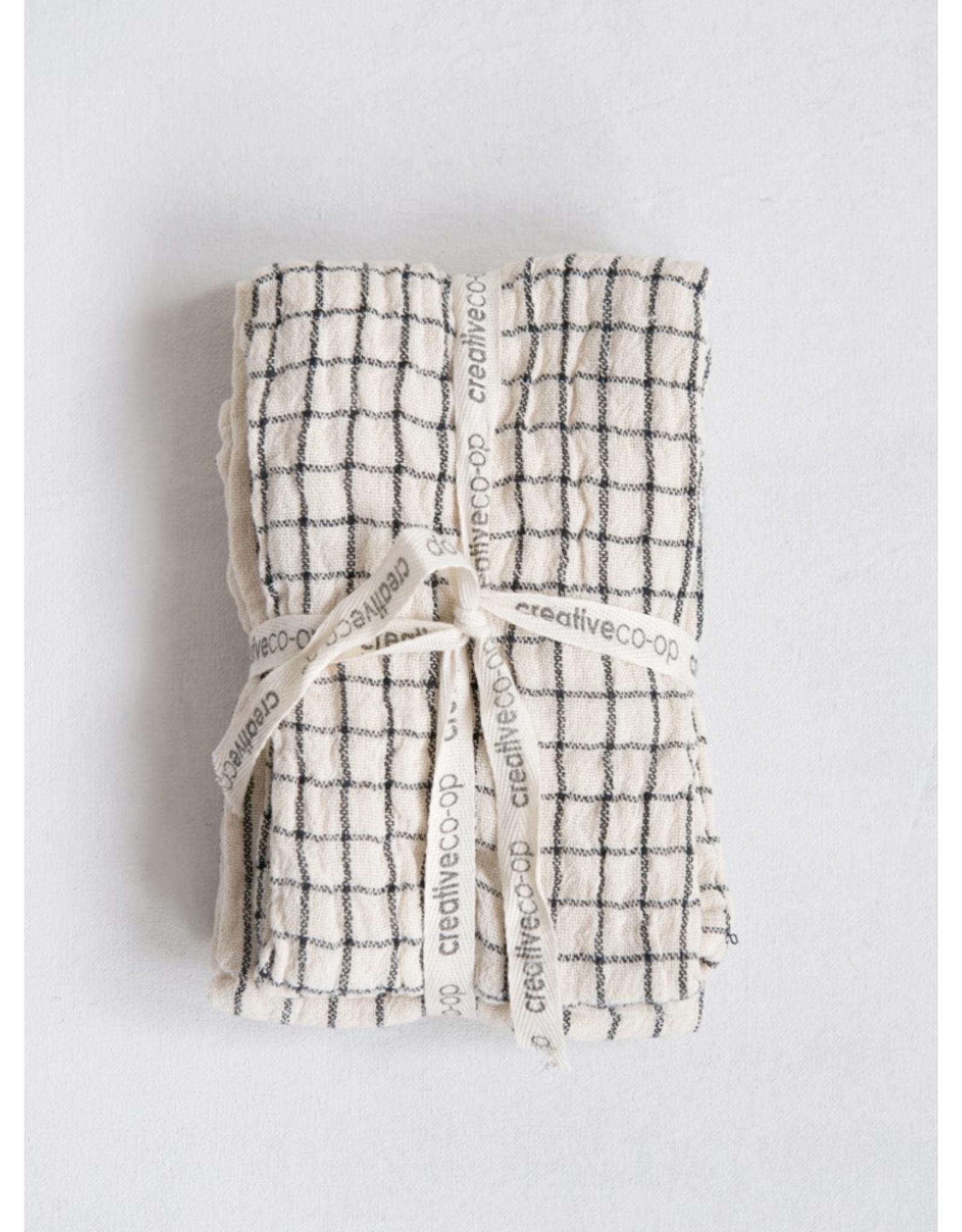 "TEA TOWELS-COTTON, GREY/WHT, SET OF 2,  28"" X18"""