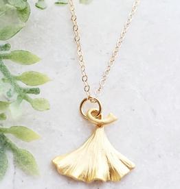 Faire/Sosie Designs NECKLACE-GINKGO GOLD