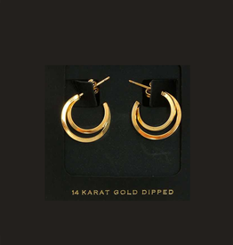EARRINGS-GOLD DIPPED  SM DBL TWISTED HOOP