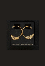 EARRINGS-GOLD DIPPED LEAF BRANCH