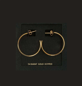 EARRINGS-GOLD DIPPED WIDE BAND HOOP