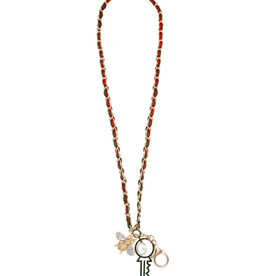 NECKLACE-CHARM W/KEY, BEE RED/GREEN