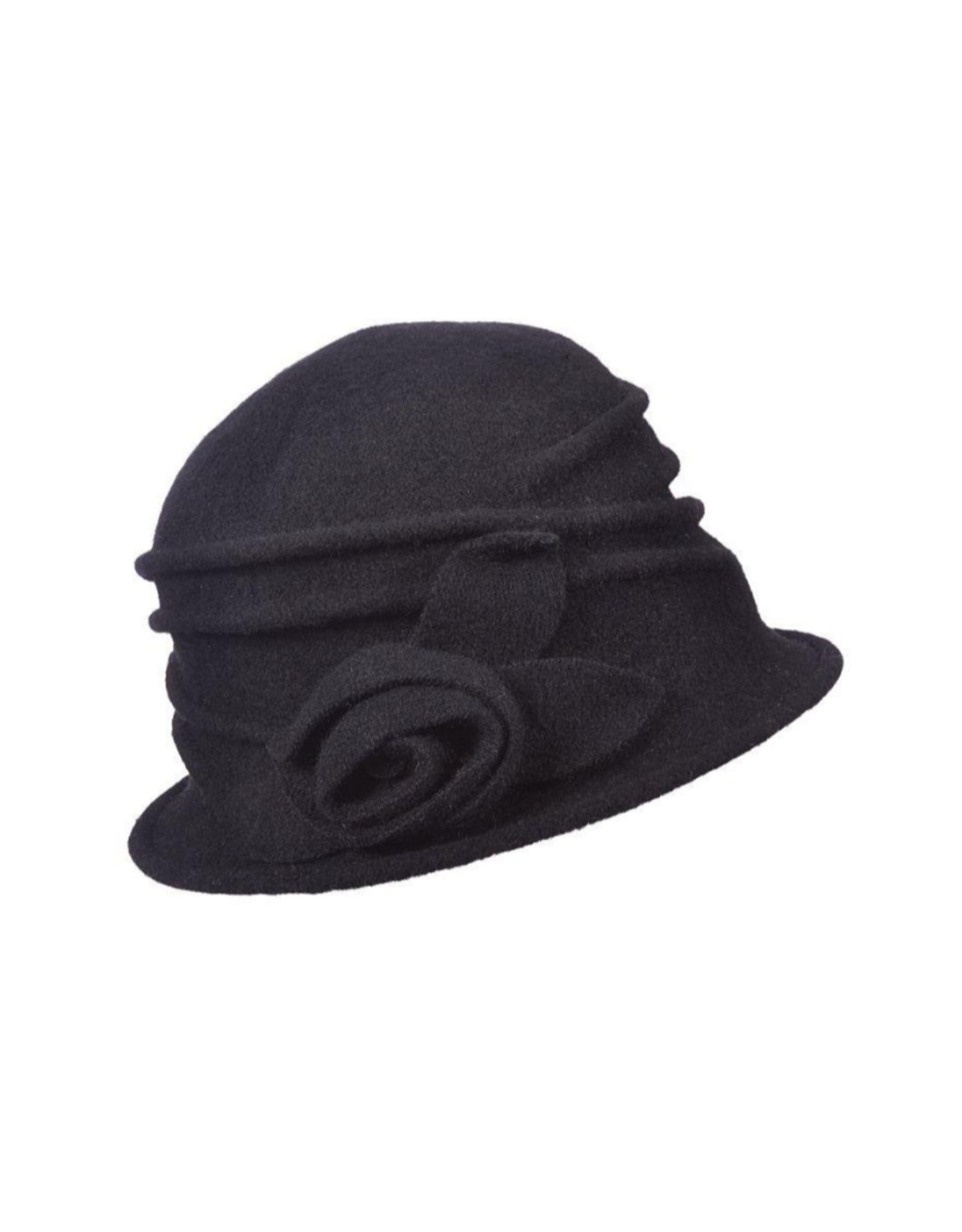 "HAT-CLOCHE-BOILED WOOL ""SIENNA"" ROSETTE"