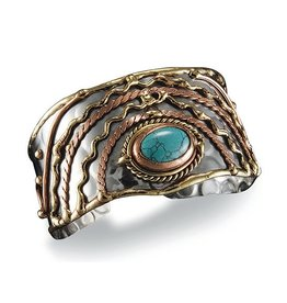Faire/Anju Jewelry BRACELET-CUFF MIXED METAL, TURQ