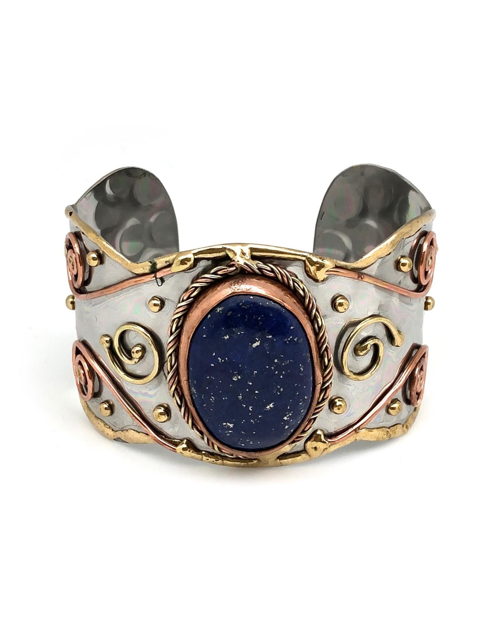 Faire/Anju Jewelry BRACELET-CUFF MIXED METAL LAPIS