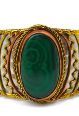 Faire/Anju Jewelry BRACELET-CUFF MIXED METAL MELACHITE