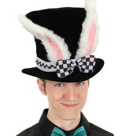 HAT-WHITE RABBIT TOPPER W/EARS