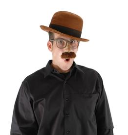 HAT-BOWLER, BROWN, SUEDE