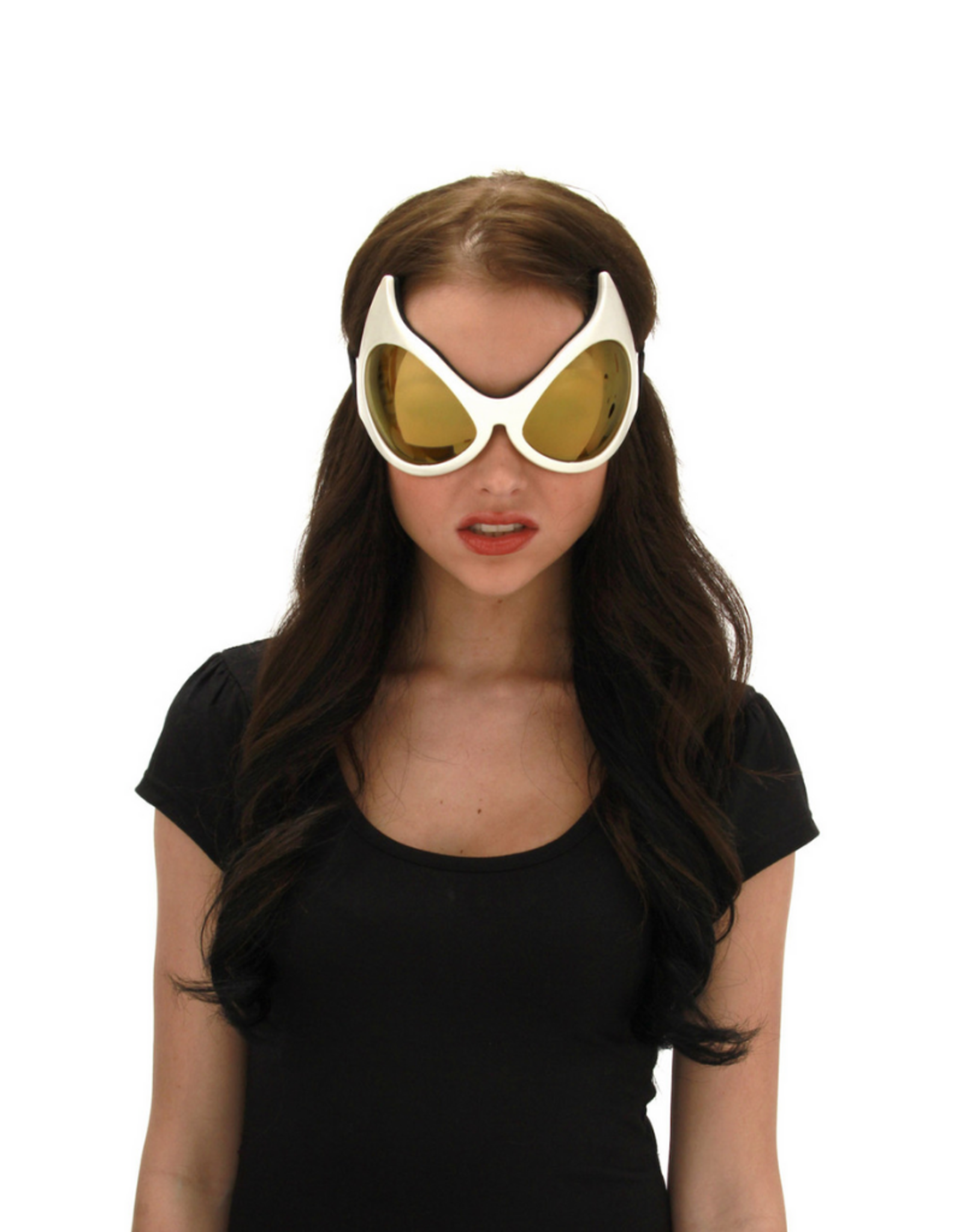 GOGGLES-CATEYE, WHITE/GOLD LENS