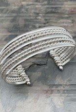Faire/Anju Jewelry BRACELET-CUFF SLVR PLATED MIX/TEXTURES