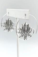 Faire/Anju Jewelry EARRINGS-TANVI OPEN HOOP/LOTUS SLVR