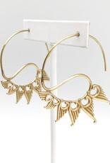 Faire/Anju Jewelry EARRINGS-TANVI OPEN HOOP/WING GLD