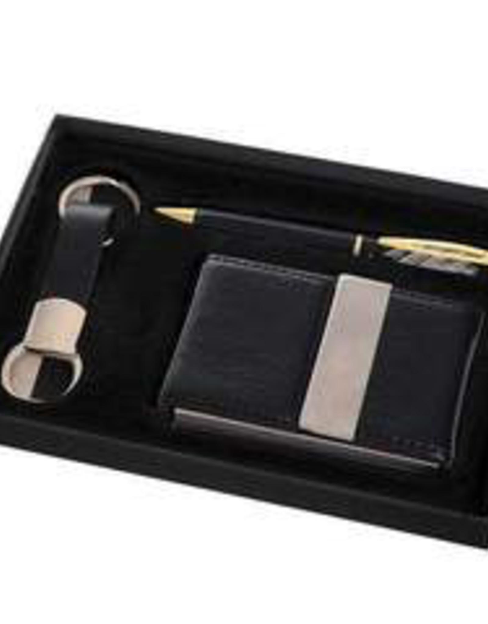 GIFT SET-CARD HOLDER, KEY CHAIN, BLACK PEN