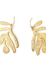 Faire/Ker-ij Jewelry EARRINGS-LEAF GLD